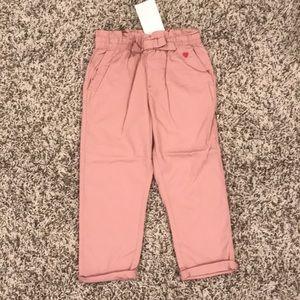 NWT Pink Toddler Paper Bag Waist Pants